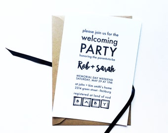 Modern + Minimalist Unisex Baby Shower Invitations with coordinating thank you notecards