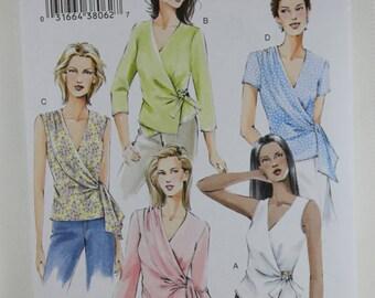 Vogue 7876, Misses' Wrap Top Sewing Pattern, Misses' Top Pattern, Misses' Patterns, Plus Size, Sewing Pattern, Size 18, 20, 22, New, Uncut