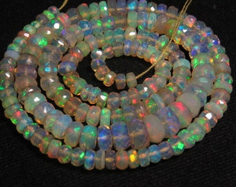 16 inches Super Sparkle Awesome Beautiful - Welo ETHIOPIAN Opal Micro Faceted Roundel Beads Fully Fire Every Beads Huge Size 3.5 - 7mm