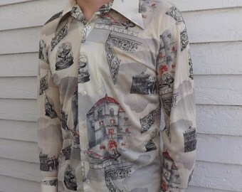 Mens Shirt 70s 1970s Vintage Print Kmart City Fountains Scenic Architecture Italy L M
