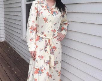 Hippie Maxi Dress Print Floral Cream Long Vintage 70s L