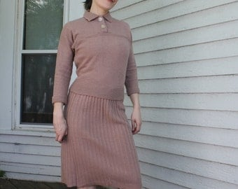 50s Pinup Sweater Skirt Knit Dress Set 1950s Vintage Wool Chenille XS Lofties Designed by Lawrence