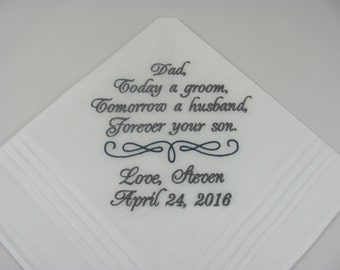 Personalized Father of the Groom Embroidered Wedding Handkerchief Dad of the Groom Wedding Gift Keepsake Favors by Simply Sweet Hankies