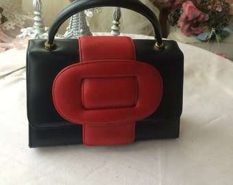 Red and Black Vinyl Handbag