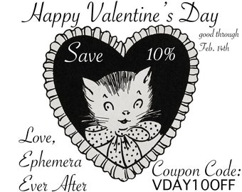 10% OFF coupon code - Happy Valentine's Day from Ephemera Ever After - 10 percent off your total order through Feb. 14, 2016