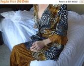VALENTINES SALE Ladies Sleep Ensemble - Long Sari Silk Wrap Top With Matching Loose Fit Bottoms - Safari H773