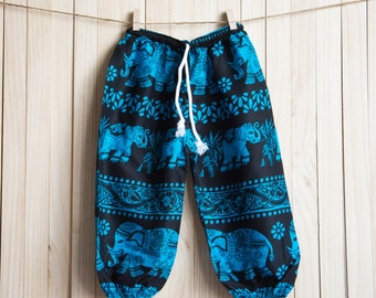 Kid's Blue Elephant Printed Cotton Pants /Gypsy Pants/Aladdin Pants/Genie Pants/Yoga Pants /Thai Pants Size-M
