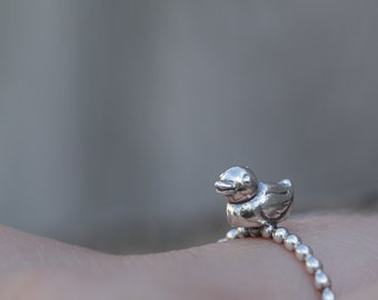 Silver Rubber Ducky Ring, Silver Ring, Duck Sterling Silver Jewelry