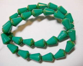 15 Turquoise Picasso Czech Glass Faceted Teardrop Beads 8x5mm