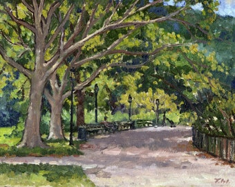 By the Muscota Marsh, Inwood Hill Park NYC. Small Oil on Panel, Plein Air Impressionist Fine Art, 8x10 Signed Original Landscape Painting