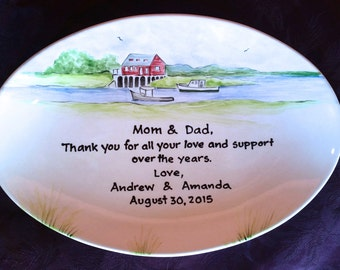 Wedding Gift for Parents Plate Floral - Thank you Mom and Dad - Parents gift-  Riverview