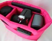 HOT PINK Camera Bag Insert  - Adjustable Divider - Size 5x10x7 - INSTOCK