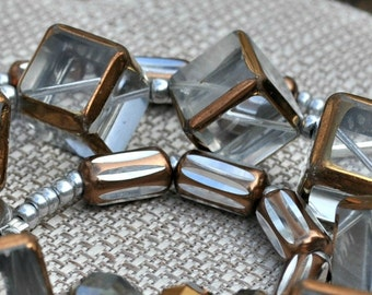 Statement Necklace: Modern Glass Cube Copper Crystal