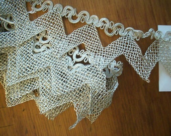 1 yard of incredible antique silver metal french trim 1910