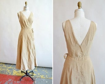 Vintage DONNA KARAN linen and silk wrap dress