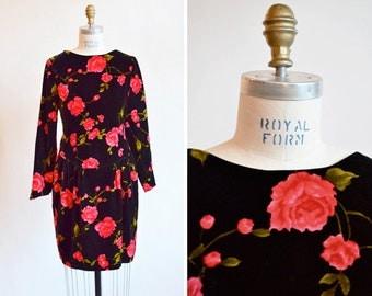 Vintage 1980s velvet ROSES mini dress