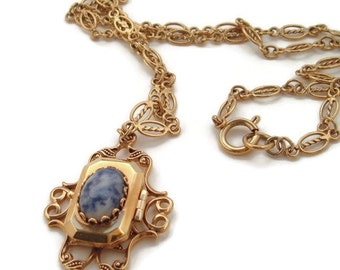 Vintage Blue locket Necklace , Photo Locket, Locket jewelry,Vintage locket,Victorian inspired,gifts for her,Faux Lapis