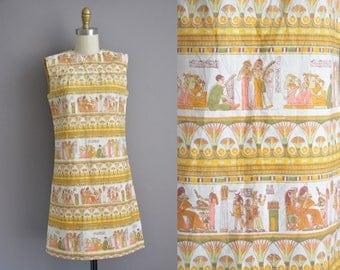 60s rare Egyptian novelty print cotton vintage dress / vintage 1960s dress