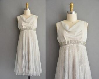 50s gray chiffon sliver beaded empire vintage cocktail dress / vintage 1950s dress