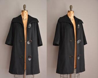 50s black wool over sized button vintage coat / vintage 1950s dress