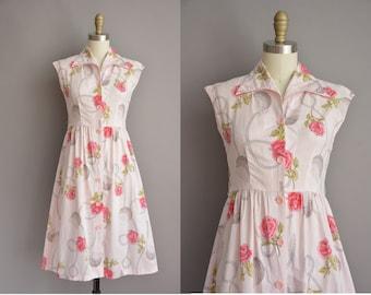 50s pink rose print cotton vintage dress / vintage 1950s dress