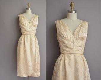 50s silk filigree print vintage cocktail wiggle dress / vintage 1950s dress