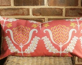 SALE ~ Decorative Contemporary Throw Pillow Cover size 12 X 24 lumbar in Coral