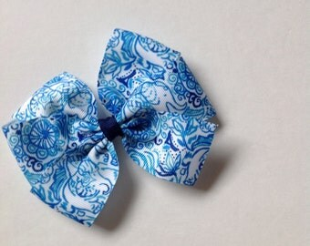 Blue and White Elephant Print Bow by Cheryl's Bowtique, lilly inspired