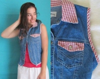 Denim and Gingham, Vest Top, Snap Front, Sleeveless, Country Girl, Hipster Vintage 90s, Size M