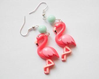 Pink Flamingo Earrings, Flamingo Earrings, Pink Flamingos, Cute Earrings, Exotic, Kawaii Earrings, Pink Earrings, Flamingoes, Gift