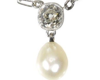 Art Deco platinum love wedding pendant necklace with cushion cut diamond and natural pearl