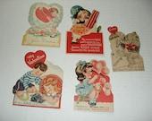 16)  Five Vintage Used Valentine Cards