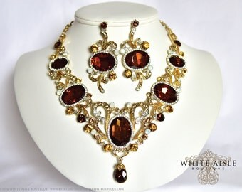 Brown Bridal Jewelry Set, Crystal Necklace, Statement Necklace, Bridal Jewelry Set, Vintage Style Necklace, Victorian Necklace