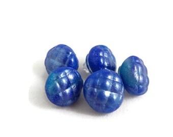 Blue shank buttons handmade clay