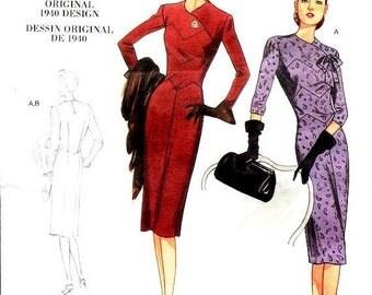 ON SALE Sz 6/8/10 - Misses' Shaped Bodice One Piece Dress - Vogue Vintage Model 1940 - Vogue Dress Pattern V1011