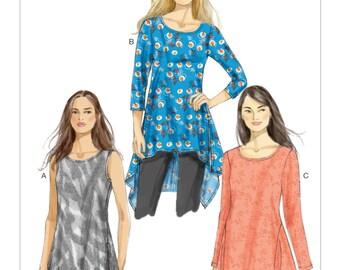 Sz Xsm/Sml/Med - Vogue Tunic Pattern V8976 - Misses' Handkerchief-Hem Tunic in Three Variations - Very Easy Vogue Patterns