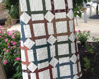 "CHURN DASH QUILT, Civil War Reproduction  Fabrics,  Lap Size, 45.5"" x 60.5"", Couch Throw, Traditional, Handmade, Longarm Quilted, Scrappy"
