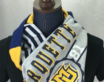 Marquette University Recycled T Shirt Infinity Scarf