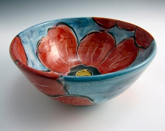 Medium Ceramic Serving Bowl - Red Poppy Flower - Majolica Pottery Bowl - Clay Serving Bowl - Turquoise Blue - Fruit Bowl - Kitchen bowl
