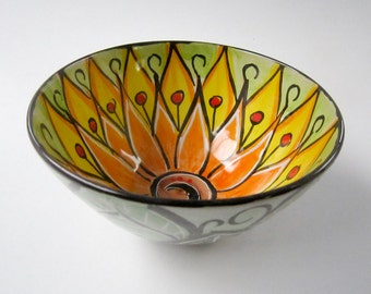 Small Ceramic Serving Bowl - Small Cereal Bowl - Yellow  Sunflower Lotus Flower - Clay Bowl - Majolica Pottery - Small Kitchen Prep - Orange
