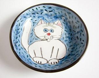 Ceramic Cat Feeding Dish- Pet Feeding Bowl - White Cat - Clay Pottery Majolica Handmade on Blue - Shallow Bowl - Shallow Clay Dish