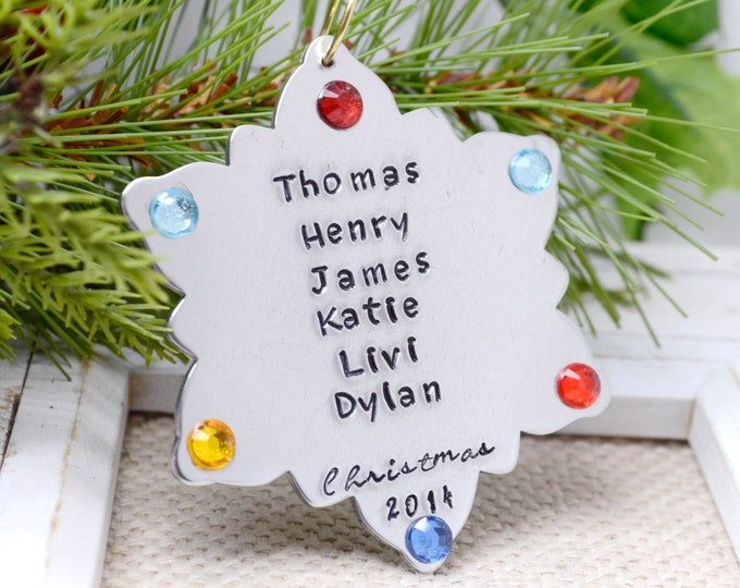 Personalized Christmas Tree Ornament, Birthstone Christmas Ornament, Snowflake Ornament, Family Ornament, Christmas Decor, Custom Ornament