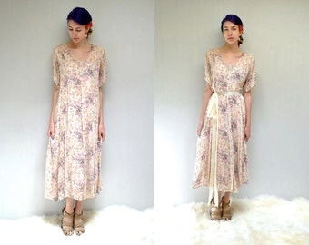 Gauze Chiffon Dress //  90s Floral Dress  //  THE GYPSOPHELIA