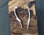 Sterling silver handmade tube style earrings, hallmarked in Exinburgh