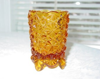 Vintage L. S. Smith Amber Glass Button Daisy Pattern Footed Tooth Pick Holder