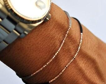Valentine SALE Rose gold beads on gray silk