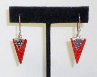 Vintage Red Jasper Silver Earrings, Jewelry
