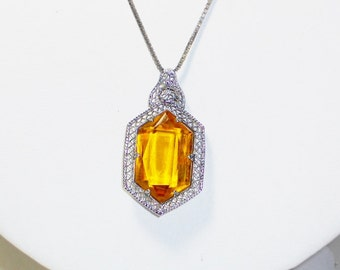 Vintage Art Deco Amber Glass Pendant Necklace, Jewelry