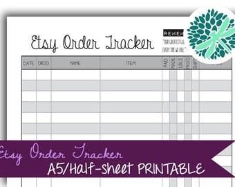 Etsy Order Tracker Planner Insert A5 / Half-letter Printable