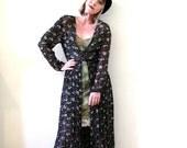 BIG ASS SALE vintage  90s sheer black floral duster dress jacket layering piece grunge boho